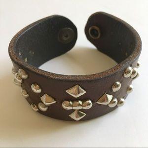 Vintage Oxblood Leather Biker Bracelet Silver Stud